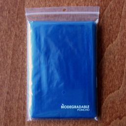 Biodegradable poncho transparent blue 9689