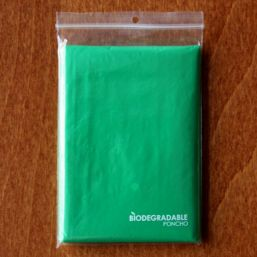 Biodegradable poncho transparent green 9689