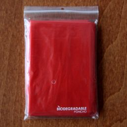 Biodegradable poncho transparent red 9689