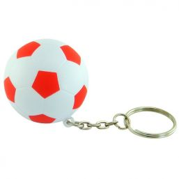 Keyring with anti stress football red/white 9805