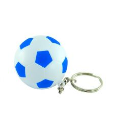 Keyring with anti stress football blue/white 9805